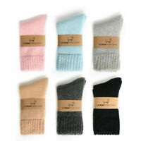 Womens Wool Cashmere Socks Solid Soft Casual Thick Winter Warm Thermal Socks Lot