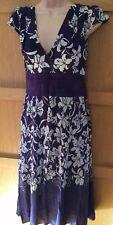 MONSOON 10 SILK vgc purple cream floral V neck cap sleeve midi dress wrap front