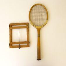 Raquette Tennis bois très ancienne avec presse raquette très original et rare