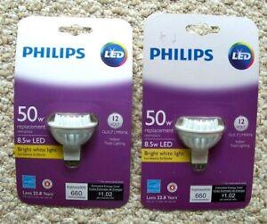 2 New Philips Indoor Track Lighting MRX16 GU5.3 Bright White Bulbs