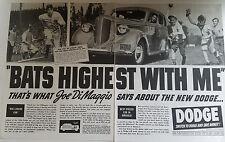 1938 Dodge Big League Car Jo DiMaggio Joe Di Maggio Yankees Baseball Original Ad