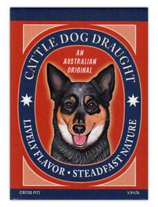 Retro Dogs Refrigerator Magnets - Australian Cattle Dog Draught - Art