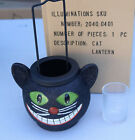 Illuminations Halloween Smiling Black Cheshire Cat Glitter Finish Lantern NEW