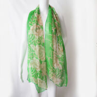 """Vintage Green Sheer Scarf with Floral Design 68x20"""" Rectangle"""