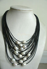 New 11-12mm White Baroque Freshwater Pearl Multi-Strand Black Leather Necklace