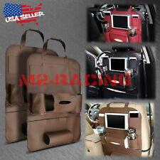 2Pcs Brown Car Seat Back Storage Organizer synthetic leather iPad iPhone Holder