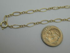 "Solid 14K Yellow Gold 11"" Long And Short Link Anklet Made In Usa"
