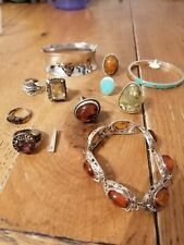 Jewellery vintage Silver 925 Job Lot Bundle Wholesale Gemstones Quartz Amber...