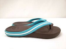 New Crocs Kids Crocband Flipswitch, Brown and Blue, Multiple Sizes