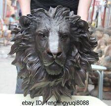 China Folk Bronze Copper Home Decoration Foo Dog Lion Head Mask Statue Sculpture