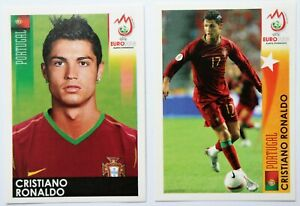 Panini EURO 2008 Cristiano Ronaldo #120 + #509 Sticker Set RARE
