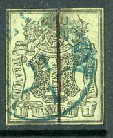 Germany 1851 Hannover 1ggr Grey Green SG # 2 VFU  F966