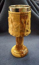 """COMMUNION CUP Jesus """"Last supper"""" olive wood grail from Jerusalem hand made"""