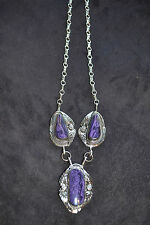 Beautiful Handmade Sterling Silver and Purple Charite Necklace