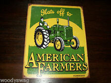 Hats Off to American Farmers New Metal tin Sign Green Tractor