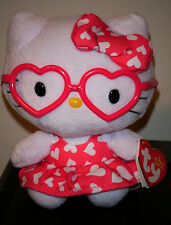 Ty Beanie Baby ~ HELLO KITTY (Valentine) Pink Dress w/ Glasses ~ NEW ~IN HAND