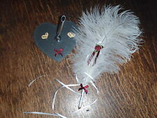 WEDDING OSTRICH FEATHER PEN + HEART PEN STAND choose your bow colour