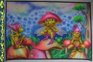 WANDBEHANG backdrop Party festival UV pilz flouro goa psy deko tuch Mushroom XXL