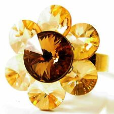 USA RING Swarovski element Cocktail brown orange FLOWER Crystal petal Sizable