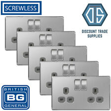 5x BG Screwless Double Socket Brushed Steel Satin Chrome Grey Insert FBS22G 13A