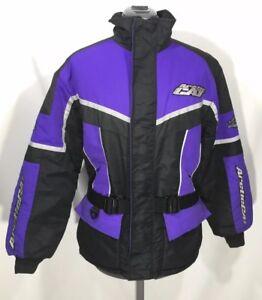 Vintage Arctic Cat Womens Snowmobile Jacket Winter Belted Black Purple Sz S