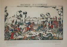 """""""BATAILLE D'AUSTERLITZ"""" Imagerie d'Epinal originale entoilée François GEORGIN"""