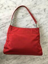 Prada Red Nylon Hobo Style Shoulder Bag