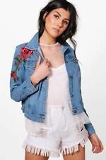 Boohoo Fiona Floral Applique Slim Fit Denim Jacket Size L LF088 AA 18