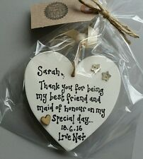 PERSONALISED Best Friend Gift Present Maid Honour Bridesmaid heart sign plaque