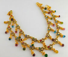 Indian Bollywood Designer Gold Plated CZ Stones Anklets Pair Ethnic Jewelry A14
