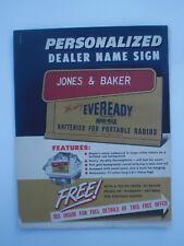 National Carbide Co New York, NY Eveready Radio Batteries dealer sign 1948 flyer