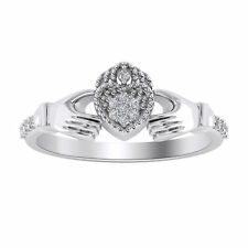 0.09 Ct Natural Diamond Womens Claddagh Engagement Ring In 10K White Gold Finish