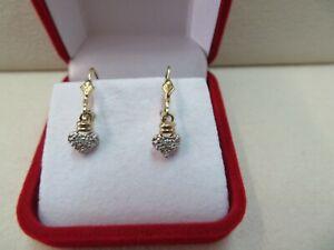 10K Solid Gold GOLD Diamond Chip Heart Lever Back Earrings 1.7 Grams
