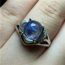 15Ct Rare Natural Clear Beautiful Blue Dumortierite  Crystal ring Polished