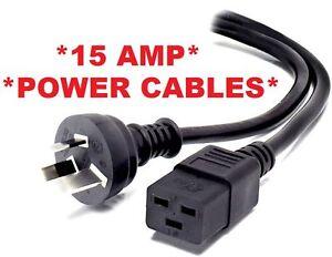 2m 3 PIN AUS 15AMP C19 Mains Power Cable Cord 15A 15 AMP HP DELL Eaton APC UPS