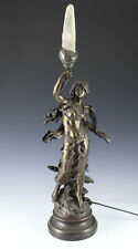 L & F Moreau Patinated Bronze Figural Lamp w/ Rock Crystal flame 19th century