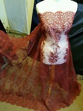 """1m wine red Embroidery sequin  Fabric scalloped  Floral  lace Wedding 52 """""""