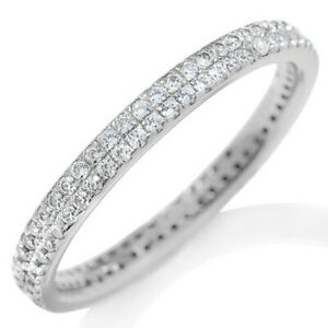 0.63 CT Round Cut D/VVS1 Micro Pave Eternity Stack Ring in 14k White Gold Over