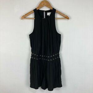 Witchery Womens Playsuit Romper Size 4 Black Sleeveless Round Neck Zip 222.13