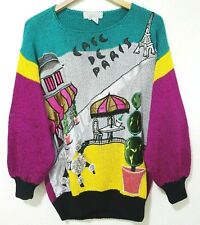 New listing Vtg Nannell Cafe De Paris France Poodle Embellished Colorblock Hand Knit Sweater