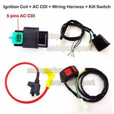 Ignition Coil AC CDI Wiring Loom Harness Kill Switch For 50-160cc Pit Dirt Bike