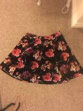 River island Velvet floral skater skirt (roses) - size 10
