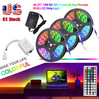 49.2ft 32.8ft RGB 3528 LED Strip Light SMD+44Key Remote+DC 12V Power Kits US