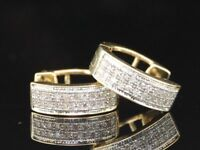 LADIES YELLOW GOLD PAVE DIAMOND HOOPS HUGGIES EARRINGS