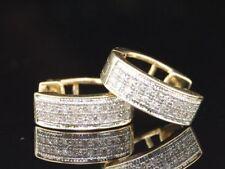 LADIES YELLOW GOLD PAVE DIAMOND HOOPS HUGGIES EARRINGS