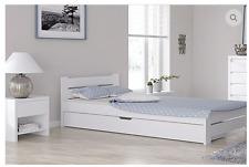 Einzelbett Bettgestell 100x200 weiß bettkasten schublade Massivholz weiss