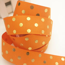 New Diy 5 yards(25mm)width print Orange Bronzing ribbon wedding craft supplies