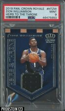 2019 Panini Crown Royale Heirs To The Throne Zion Williamson RC Jersey PSA 9