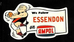 WE FOLLOW ESSENDON & AMPOL promo Vinyl Decal Sticker THE BOMBERS VFL AFL OILS
