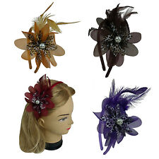 "4 pieces Feather Leopard Flower w/Pearl Satin Headband 0.4"" width - US Ship"